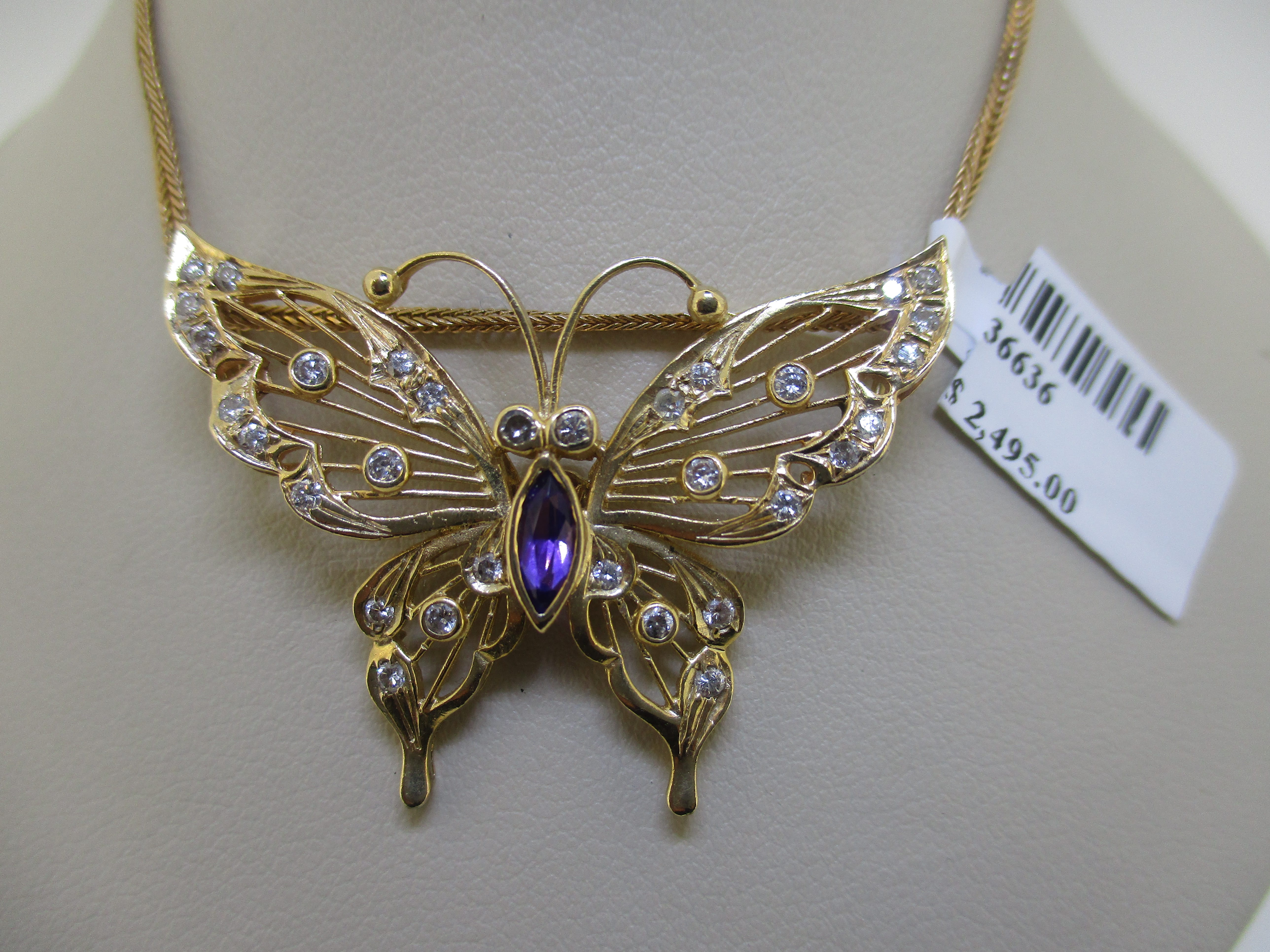 14K 7.77G YG BUTTERFLY AMETHYST AND DIAMOND NECKLACE